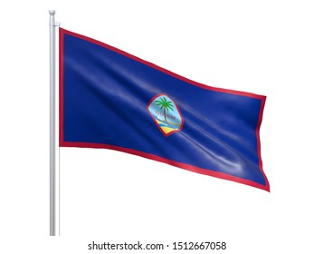 Guam (U.S. state) flag waving on white background, close up, isolated. 3D render