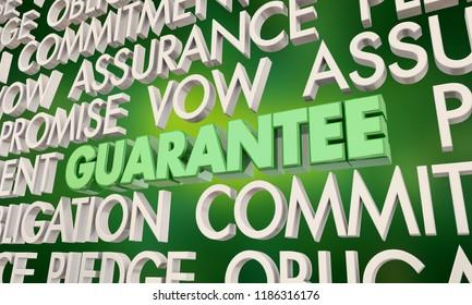 Guarantee Promise Vow Pledge Word Collage 3d Illustration