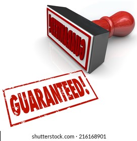 Guaranteed stamp and word in red ink to promise 100% satisfaction and product or service warranty to build confidence with customers