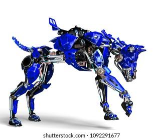 guard blue dog security system 3d illustration