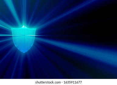 Guard, defense, security abstract image. A 3D graphics representation of the shield, a symbol of defense.