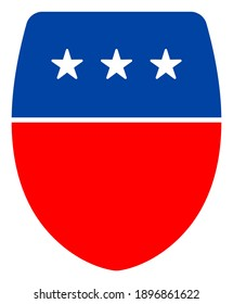 Guard shield icon in blue and red colors with stars. Guard shield illustration style uses American official colors of Democratic and Republican political parties, and star shapes.