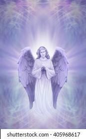 Guardian Angel on Ethereal lilac blue  background - praying angel with white aura  around head on an intricate blue lilac energy field background with of copy space above