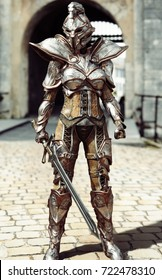 Guardian of the gate. Female fully armored knight standing guard. 3d rendering