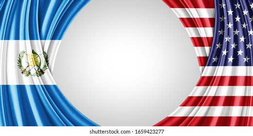 Guatemala and American flag of silk with copyspace for your text or images and white background -3D illustration