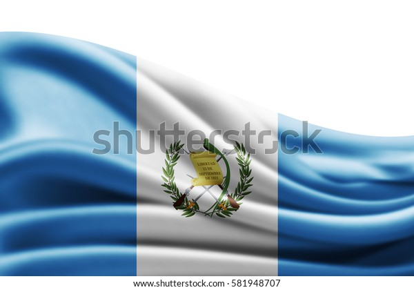 Guatemala flag of silk with copyspace for your text or images and white background -3D illustration