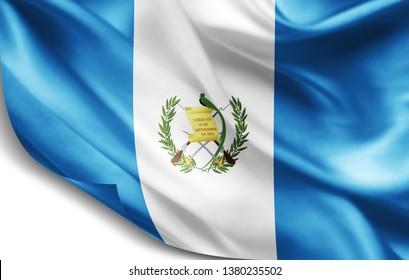 Guatemala flag of silk-3D illustration