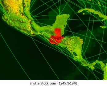 Guatemala on digital map with networks. Concept of international travel, communication and technology. 3D illustration. Elements of this image furnished by NASA.