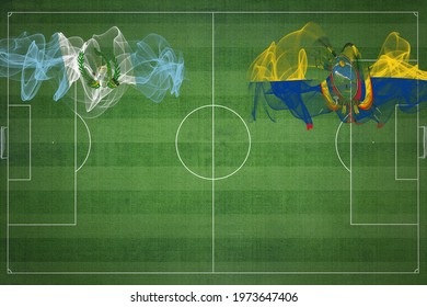 Guatemala vs Ecuador Soccer Match, national colors, national flags, soccer field, football game, Competition concept, Copy space