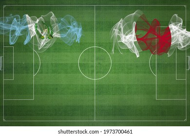 Guatemala vs Japan Soccer Match, national colors, national flags, soccer field, football game, Competition concept, Copy space