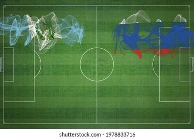 Guatemala vs Russia Soccer Match, national colors, national flags, soccer field, football game, Competition concept, Copy space