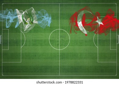 Guatemala vs Turkey Soccer Match, national colors, national flags, soccer field, football game, Competition concept, Copy space