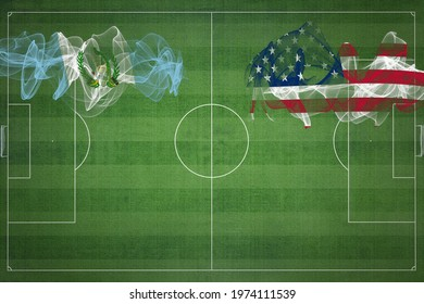 Guatemala vs United States Soccer Match, national colors, national flags, soccer field, football game, Competition concept, Copy space