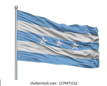 Guayaquil City Flag On Flagpole, Country Ecuador, Isolated On White Background