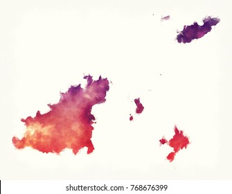 Guernsey watercolor map in front of a white background