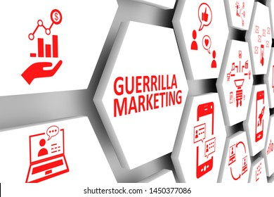 GUERRILLA MARKETING concept cell background 3d illustration