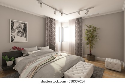 Guest Bedroom in Country House 3d Rendering