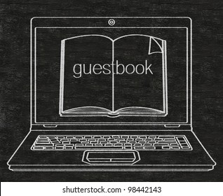 guest book with book and computer written on blackboard background high resolution