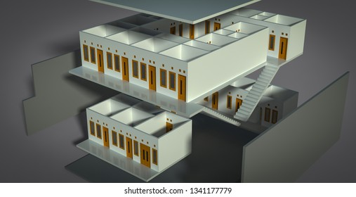 Guest house design in 3D render illustration exploded or separation perspective view