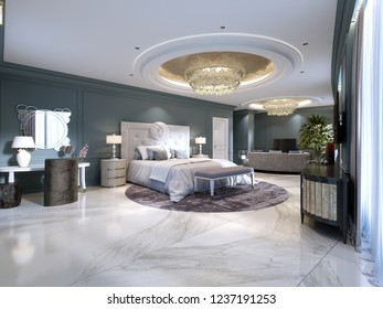 Guest room in a luxurious new hotel with open space, a bedroom and a living room lounge. 3d rendering.
