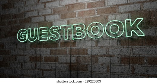 GUESTBOOK - Glowing Neon Sign on stonework wall - 3D rendered royalty free stock illustration.  Can be used for online banner ads and direct mailers.