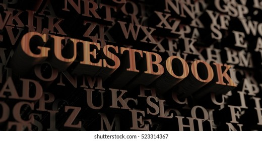 Guestbook - Wooden 3D rendered letters/message.  Can be used for an online banner ad or a print postcard.