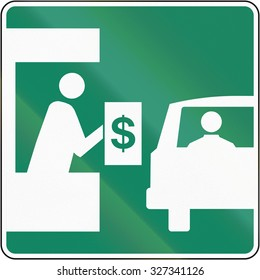 Guide and information road sign in Quebec, Canada - Toll booth.