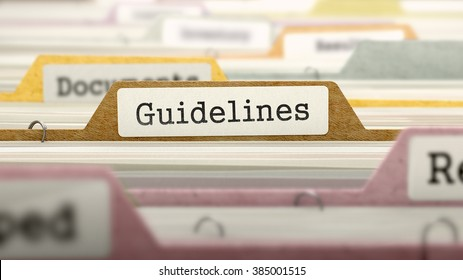 Guidelines Concept. Colored Document Folders Sorted for Catalog. Closeup View. Selective Focus. 3D Render.