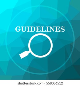 Guidelines icon. Guidelines website button on blue low poly background.