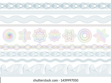Guilloche patterns. Bank money security, banknotes seamless engraving and banking secure border. Banknote protective, protection engraved. Passport or diploma guilloche pattern  set