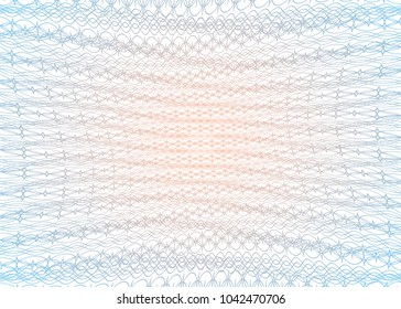 Guilloche texture template. Geometric grid for certificate, voucher, money banknote, voucher, currency, diploma, note, pass, check, ticket and etc. Graphic security element illustration.