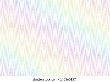 Guilloche watermark texture. Textured passport paper, banknote secure rainbow pattern and color line waves. Monochrome money currency watermark or diploma certificate  seamless background
