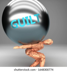 Guilt as a burden and weight on shoulders - symbolized by word Guilt on a steel ball to show negative aspect of Guilt, 3d illustration