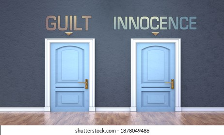 Guilt and innocence as a choice - pictured as words Guilt, innocence on doors to show that Guilt and innocence are opposite options while making decision, 3d illustration