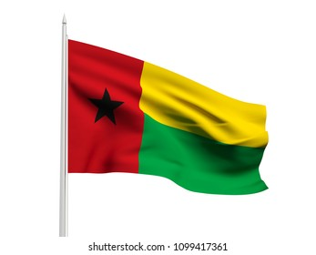 Guinea bissau flag floating in the wind with a White sky background. 3D illustration.