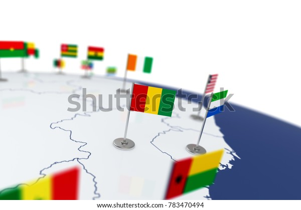 Guinea flag. Country flag with chrome flagpole on the world map with neighbors countries borders. 3d illustration rendering flag