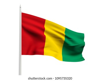 Guinea flag floating in the wind with a White sky background. 3D illustration.