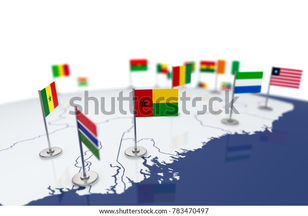 Guinea-Bissau flag. Country flag with chrome flagpole on the world map with neighbors countries borders. 3d illustration rendering flag