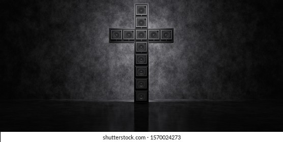 Guitar amplifiers composed in the form of a cross on a concrete wall background. Glowing cross of guitar amps. 3D Render.