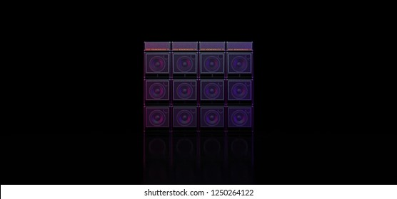 Guitar amplifiers composed in the form of a wall. Scene with guitar amps. The music scene. Guitar amplifiers form a wall. 3D illustration