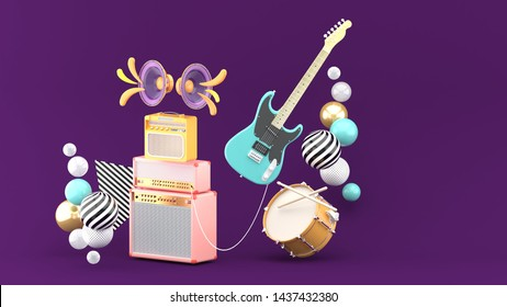 Guitar amplifiers, guitars and drums surrounded by colorful balls on a purple background.-3d rendering.