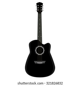 Guitar ,black guitar, acoustic guitar, guitar isolated