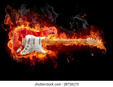 Guitar in fire - Series of fiery illustrations