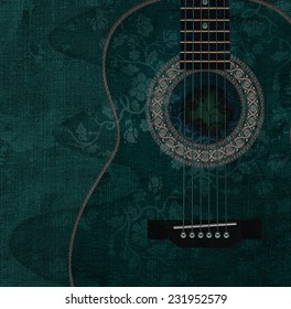 Guitar with flowers on it, illustration