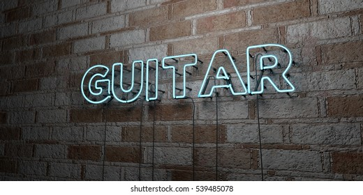 GUITAR - Glowing Neon Sign on stonework wall - 3D rendered royalty free stock illustration.  Can be used for online banner ads and direct mailers.
