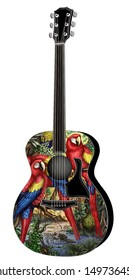 Guitar with Macaw Painting
