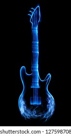 Guitar made of light and smoke.