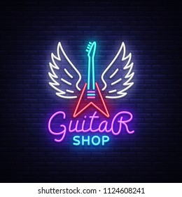 Guitar shop neon sign . Design template Guitar Store logo in neon style, light banner, bright neon night signboard, emblem for store with musical instruments. illustration.
