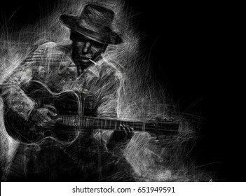 Guitarist in a hat with an acoustic guitar and a cigarette. Abstract black and white Illustration poster