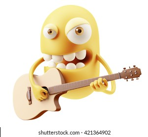 Guitarrist Singer Emoji Cartoon. 3d Rendering.